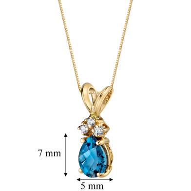 14 Karat Yellow Gold Pear Shape 0.75 Carats London Blue Topaz Diamond Pendant P9700