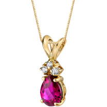 14 Karat Yellow Gold Pear Shape 1.00 Carats Created Ruby Diamond Pendant P9702