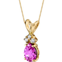 14 Karat Yellow Gold Pear Shape 1.00 Carats Created Pink Sapphire Diamond Pendant P9706