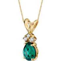 14 Karat Yellow Gold Pear Shape 0.50 Carats Created Emerald Diamond Pendant P9710