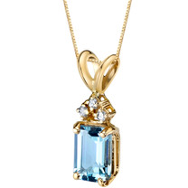 14 Karat Yellow Gold Emerald Cut 1.00 Carats Aquamarine Diamond Pendant P9712