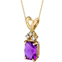 14 Karat Yellow Gold Radiant Cut 1.00 Carats Amethyst Diamond Pendant P9714