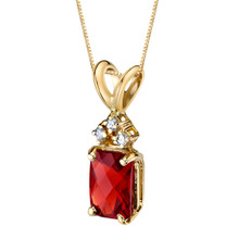 14 Karat Yellow Gold Radiant Cut 1.00 Carats Garnet Diamond Pendant P9718