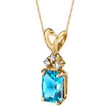 14 Karat Yellow Gold Radiant Cut 1.00 Carats Swiss Blue Topaz Diamond Pendant P9724