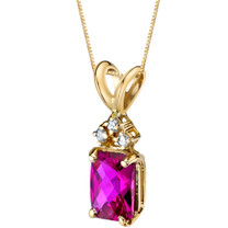 14 Karat Yellow Gold Radiant Cut 1.25 Carats Created Ruby Diamond Pendant P9728