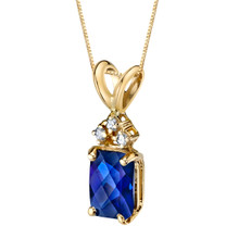 14 Karat Yellow Gold Radiant Cut 1.25 Carats Created Blue Sapphire Diamond Pendant P9730