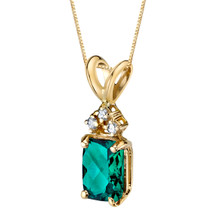 14 Karat Yellow Gold Radiant Cut 1.00 Carats Created Emerald Diamond Pendant P9736