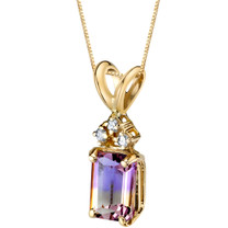 14 Karat Yellow Gold Emerald Cut 1.00 Carats Ametrine Diamond Pendant P9738