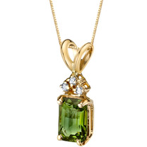 14 Karat Yellow Gold Emerald Cut 1 Carats Green Tourmaline Diamond Pendant P9740