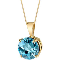14 Karat Yellow Gold Round Cut 2.50 Carats Swiss Blue Topaz Pendant P9748