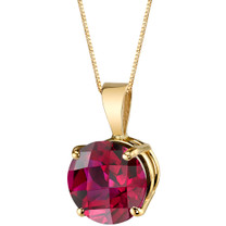 14 Karat Yellow Gold Round Cut 2.50 Carats Created Ruby Pendant P9752