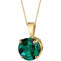 14 Karat Yellow Gold Round Cut 1.75 Carats Created Emerald Pendant