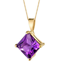 14 Karat Yellow Gold Princess Cut 2.00 Carats Amethyst Pendant P9762