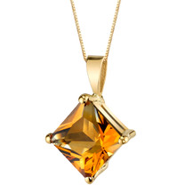 14 Karat Yellow Gold Princess Cut 2.25 Carats Citrine Pendant P9764