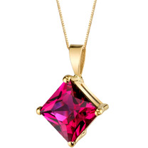 14 Karat Yellow Gold Princess Cut 3.00 Carats Created Ruby Pendant P9772