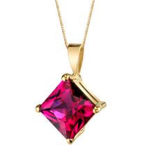 14 Karat Yellow Gold Princess Cut 3.00 Carats Created Ruby Pendant P9772