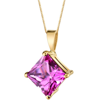 14 Karat Yellow Gold Princess Cut 3.00 Carats Created Pink Sapphire Pendant P9776