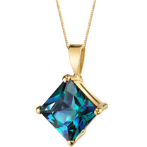 14 Karat Yellow Gold Princess Cut 3.00 Carats Created Alexandrite Pendant P9778