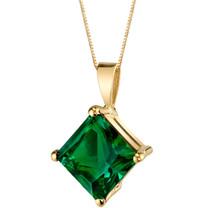 14 Karat Yellow Gold Princess Cut 2.25 Carats Created Emerald Pendant P9780