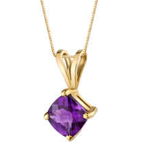 14 Karat Yellow Gold Cushion Cut 0.75 Carats Amethyst Pendant P9784
