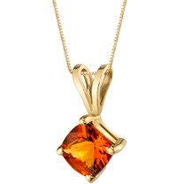14 Karat Yellow Gold Cushion Cut 1.00 Carats Citrine Pendant P9786