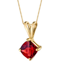 14 Karat Yellow Gold Cushion Cut 1.00 Carats Garnet Pendant P9788