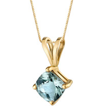 14 Karat Yellow Gold Cushion Cut 0.75 Carats Green Amethyst Pendant P9792