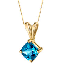 14 Karat Yellow Gold Cushion Cut 1.00 Carats Swiss Blue Topaz Pendant P9794