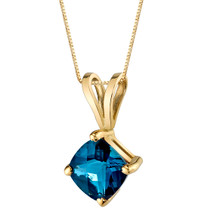 14 Karat Yellow Gold Cushion Cut 1.00 Carats London Blue Topaz Pendant P9796