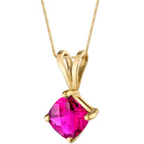 14 Karat Yellow Gold Cushion Cut 1.00 Carats Created Ruby Pendant P9798