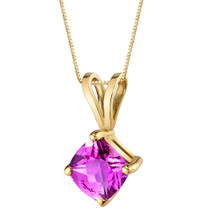 14 Karat Yellow Gold Cushion Cut 1.00 Carats Created Pink Sapphire Pendant P9802