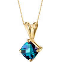 14 Karat Yellow Gold Cushion Cut 1.00 Carats Created Alexandrite Pendant P9804