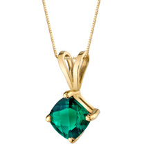 14 Karat Yellow Gold Cushion Cut 0.75 Carats Created Emerald Pendant P9806