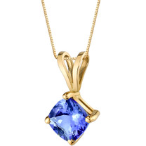 14 Karat Yellow Gold Cushion Cut 1.00 Carats Tanzanite Pendant P9808