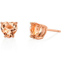 14K Rose Gold Heart Shape 1.50 Carats Morganite Stud Earrings E19128
