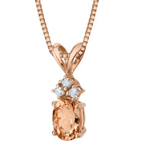 14 Karat Rose Gold Oval Shape 0.75 Carats Morganite Diamond Pendant P9816