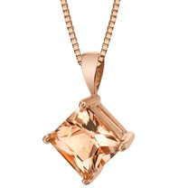 14 Karat Rose Gold Princess Cut 2.00 Carats Morganite Pendant P9820