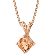 14 Karat Rose Gold Cushion Cut 0.75 Carats Morganite Pendant P9822