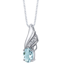 Aquamarine Angel Wing Pendant Necklace Sterling Silver 1.25 carats SP11360