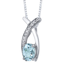 Aquamarine Pendant Necklace Sterling Silver Oval Shape 0.75 carats SP11362