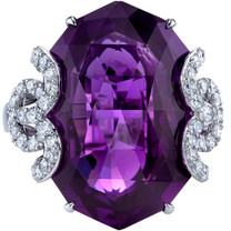 18.50 carats Amethyst Diamond Imperial Ring 14K White Gold