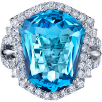 12.50 carats Swiss Blue Topaz Diamond Trapezoid Ring 14K White Gold