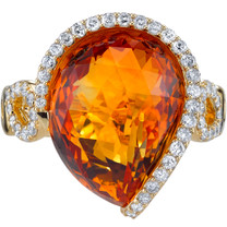 10.10 carats Citrine Diamond Stardust Ring 14K Yellow Gold