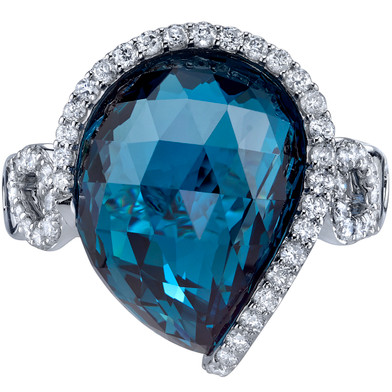 13.75 carats London Blue Topaz Diamond Ring 14K White Gold