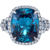 13.25 carats London Blue Topaz Diamond Roma Ring 14K White Gold