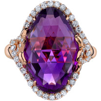 12.50 carats Amethyst Diamond Empress Ring 14K Rose Gold