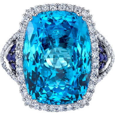 17.50 carats Swiss Blue Topaz Diamond and Sapphire Ring 14K White Gold