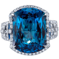 17.00 carats London Blue Topaz Diamond Azure Ring 14K White Gold