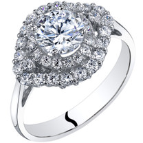 14k White Gold Peora Simulated Diamond Engagement Ring 1.00 Carat Center Cluster Style Sizes 4-10,