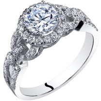 14k White Gold Peora Simulated Diamond Engagement Ring 1.00 Carat Center Sizes 4-10